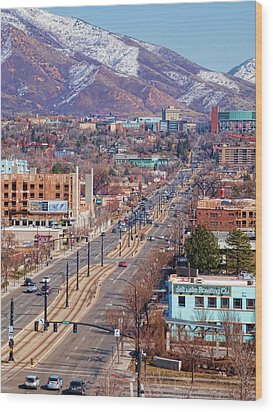 Wood Print featuring the photograph 400 S Salt Lake City by Ely Arsha