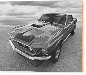 428 Cobra Jet Mach1 Ford Mustang 1969 In Black And White Wood Print by Gill Billington