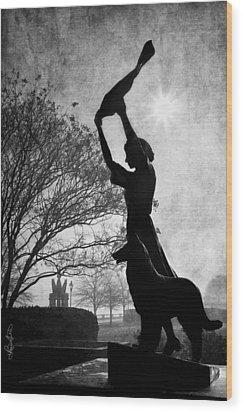 44 Years Of Waving - Black And White Wood Print