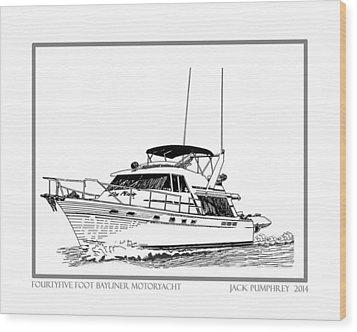 45 Foot Bayliner Motoryacht Wood Print by Jack Pumphrey