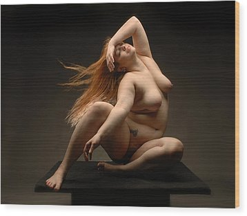 4541 Full Figured Nude Wood Print by Chris Maher