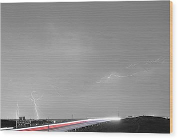 47 Street Lightning Storm Light Trails View Bwsc Wood Print by James BO  Insogna