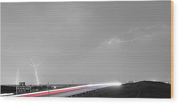 47 Street Lightning Storm Light Trails View Panorama Wood Print by James BO  Insogna