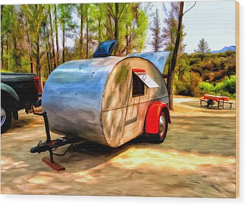 Wood Print featuring the painting 47 Teardrop by Michael Pickett