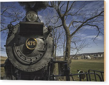 #475 Steam Engine On The Strasburg Rr 04 Wood Print by Mark Serfass