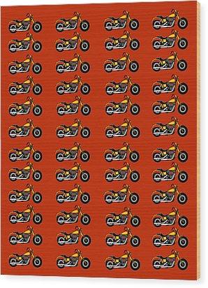 48 Harlies On Dark Red Wood Print by Asbjorn Lonvig