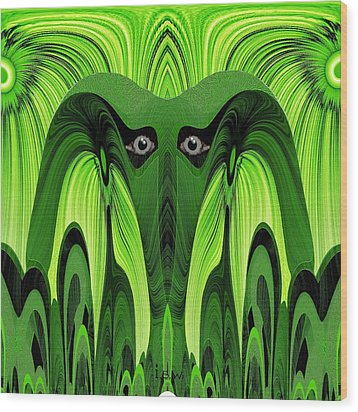 482 - Green Ghost Of The Woods Wood Print by Irmgard Schoendorf Welch