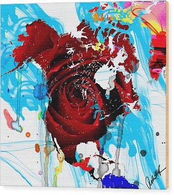 48x46 Beautiful World - Rose Red Signed Art Abstract Paintings Modern  Www.splashyartist.com Wood Print