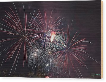 4th Of July Fireworks Portland Oregon 2013 Wood Print by JPLDesigns