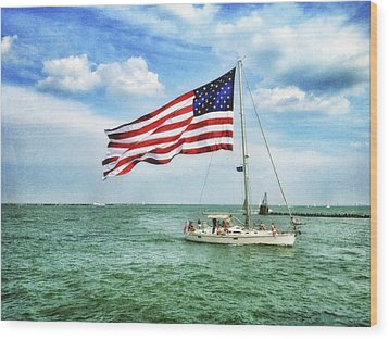 Wood Print featuring the photograph 4th Of July - Navy Pier - Downtown Chicago by Photography  By Sai