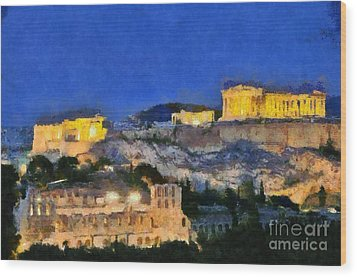 Acropolis Of Athens During Dusk Time Wood Print