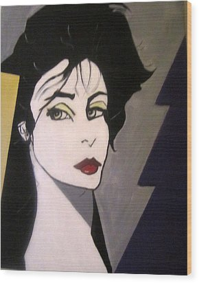 Wood Print featuring the painting Art Deco by Nora Shepley