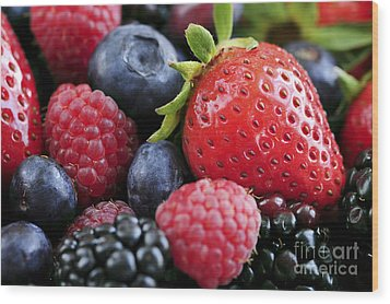 Assorted Fresh Berries Wood Print by Elena Elisseeva