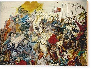 Battle Of Grunwald Wood Print by Henryk Gorecki