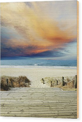Beach View Wood Print by Les Cunliffe
