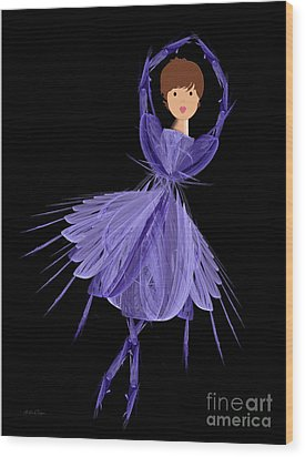5 Blue Ballerina Wood Print by Andee Design