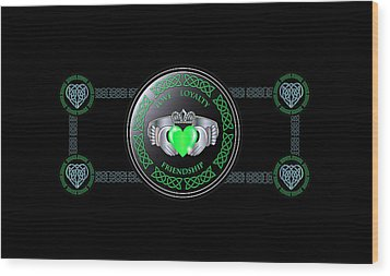 Celtic Claddagh Ring  Wood Print by Ireland Calling