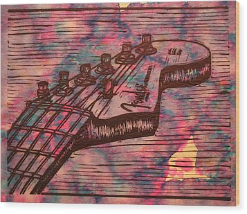 Fender Strat Wood Print by William Cauthern