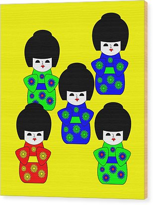 5 Japanese Dolls On Yellow Wood Print by Asbjorn Lonvig