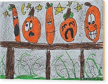 5 Little Pumpkins Wood Print
