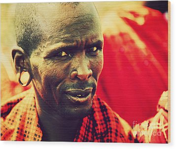 Maasai Man Portrait In Tanzania Wood Print by Michal Bednarek