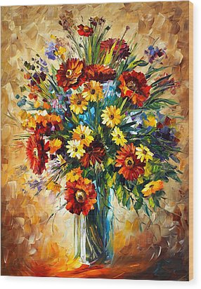 Magic Flowers Wood Print by Leonid Afremov