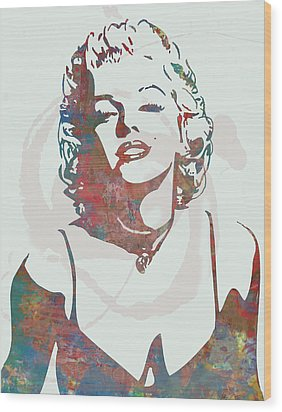 Marilyn Monroe Stylised Pop Art Drawing Sketch Poster Wood Print by Kim Wang