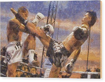 Muay Thai Arts Of Fighting Wood Print by Rames Ratyantarakor