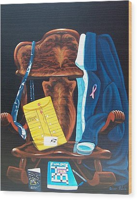 Wood Print featuring the painting Retiring Postal Worker by Susan Roberts