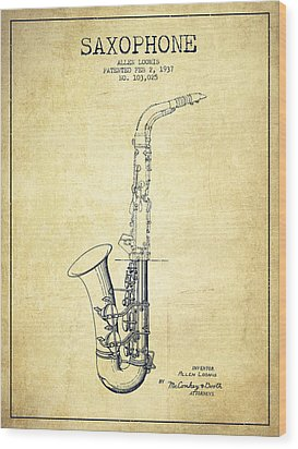Saxophone Patent Drawing From 1937 - Vintage Wood Print by Aged Pixel