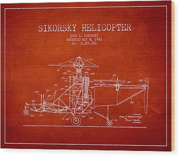 Sikorsky Helicopter Patent Drawing From 1943 Wood Print by Aged Pixel