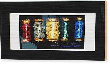 5 Spools Wood Print by Joseph Hawkins