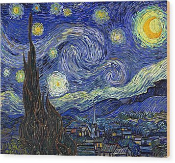 Wood Print featuring the painting Starry Night  by Vincent Van Gogh
