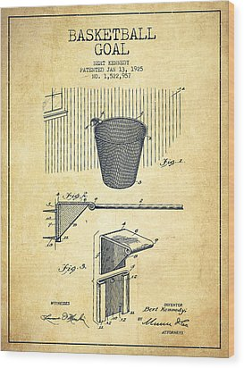 Vintage Basketball Goal Patent From 1925 Wood Print by Aged Pixel