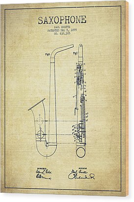 Saxophone Patent Drawing From 1899 - Vintage Wood Print by Aged Pixel