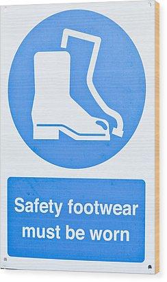 Warning Sign Wood Print by Tom Gowanlock