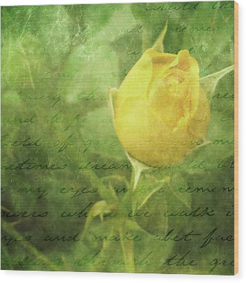 Yellow Rose Wood Print by Cathie Tyler