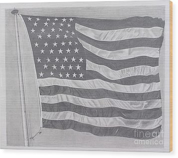 50 Stars 13 Stripes Wood Print by Wil Golden