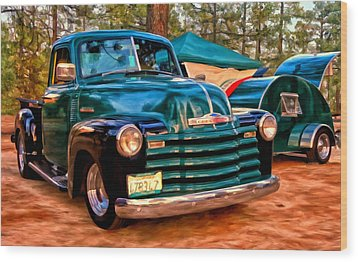 Wood Print featuring the painting '51 Chevy Pickup With Teardrop Trailer by Michael Pickett