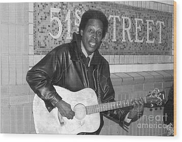 Wood Print featuring the photograph 51st Street Subway Musician by John Telfer
