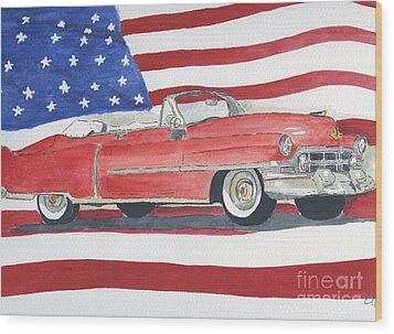 52 Cadillac Convertible Wood Print