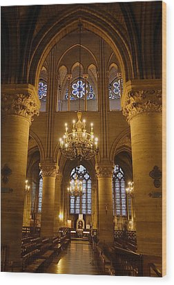 Architectural Artwork Within Notre Dame In Paris France Wood Print