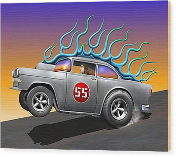 '55 Chevy Wood Print