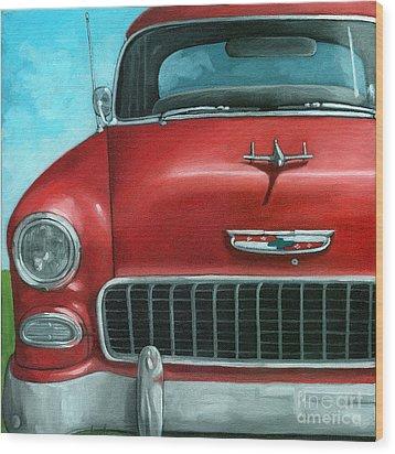 55' Vintage Red Chevy Wood Print by Linda Apple