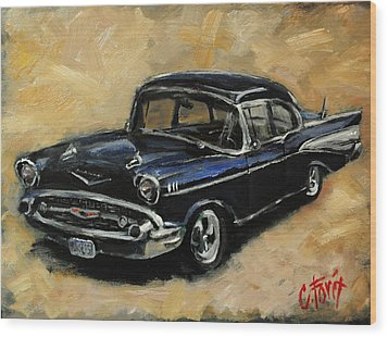 57 Chevy Wood Print by Carole Foret