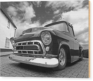 57 Stepside Chevy In Black And White Wood Print