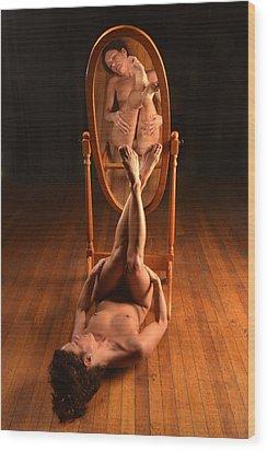5806 Nude On Wood Floor Before Mirror  Wood Print by Chris Maher
