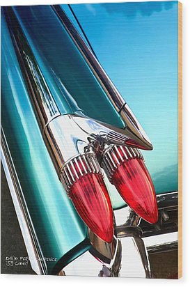 '59  Caddy Tail Fins Wood Print
