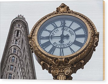 5th Avenue Clock Wood Print by John Farnan