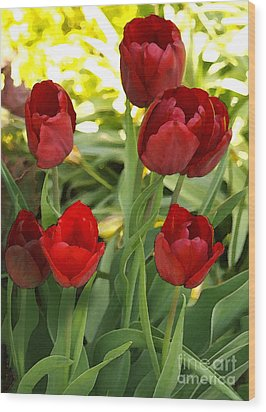 Wood Print featuring the photograph 5tulips by Susan Crossman Buscho